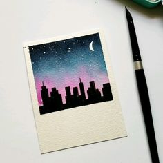 City night sky Using Jane Davenport watercolors to create thisYou can find Aquarelle painting and more on our website.City night sky Using Jane Davenport watercolo. Cute Canvas Paintings, Small Canvas Art, Mini Canvas Art, Mini Paintings, Painting Canvas, Easy Paintings, Aesthetic Painting, Aesthetic Drawing, Aesthetic Art