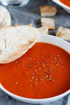 This Classic Tomato Soup is rich with a velvety texture. It's easy to make with canned tomatoes, and perfectly suited for all of your grilled cheese dipping needs. Better than a can of Campbell's and just about as easy! Medieval Times Tomato Bisque Recipe, Simply Recipes, Fall Recipes, Easy Tomato Soup Recipe, Cheese Tortellini, White Bean Soup, Hot Soup, Homemade Soup, Perfect Food