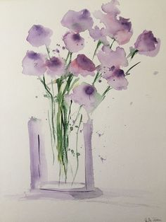 Original watercolor watercolor painting picture art purple flowers in the vase watercolor Flowers abstract ORIGINAL AQUARELL Aquarellmalerei Bild Kunst lila Blumen in Watercolor Art Diy, Watercolor Painting Techniques, Watercolor Flowers, Watercolor Paintings, Art Et Illustration, Purple Flowers, Purple Vase, Red Tulips, Abstract Flowers