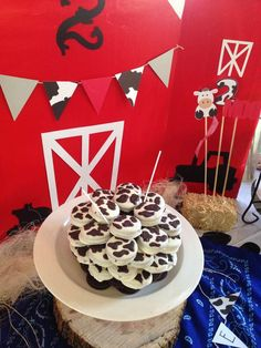 Cow birthday party chocolate Oreos! See more party planning ideas at CatchMyParty.com!