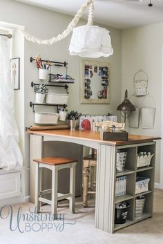 LOVE this table idea.  Could work great in my space.  Just One Tip: Using a rail system for storage (Unskinny Boppy)