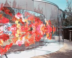 a-art house by kazuyo sejima is a transparent, walk through pavilion with vibrant pink, red, and yellow motifs encompassing the facade. Light Art Installation, Architect Design, Art Festival, Public Art, Magazine Design, Pavilion, Home Projects, Home Art, Landscape Design