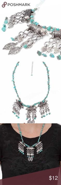 🆕BKE Turquoise Stone Silver Necklace Burnished silver stone turquoise statement necklace. New. Beautiful!! 🌟Great bundle item! 🌟 🎁 Free gift with purchase 🎁 BKE Jewelry Necklaces