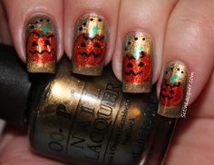 pumpkin nail art OPI Just Spotted the Lizard and OPI DS Luxurious with details in acrylic paint