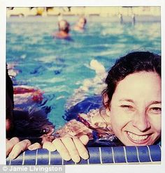 Big love: A girl is seen here in a swimming pool on 10 January 1987, and with a love note on 23 September 1986