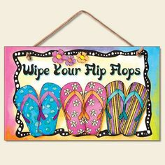 """NEW!~PRIMITIVE WOOD SIGN PLAQUE~/""""Wipe Your Flip Flops/""""~Shabby Cottage Chic//Beach"""