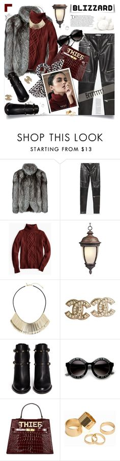 """""""Brrrrr! Winter Blizzard"""" by prigaut ❤ liked on Polyvore featuring N.Peal, Zara, J.Crew, Maxim, Topshop, Chanel, Balmain, Valentino, Pieces and Kate Spade"""