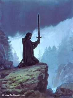 """Túrin Prepares to Take His Life"" sketch by Ted Nasmith. Turin Tuimbar, Master of Doom by Doom Mastered.... **sobbing**"