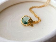 Erinite Pendant and Gold Bird on a Gold Filled by BeadingTimes, $22.00