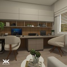 Image may contain: people sitting, table, living room and indoor area - - Small Office Design, Office Interior Design, Office Interiors, Interior Design Living Room, Office Designs, Home Office Shelves, Home Office Space, Home Office Decor, Home Decor