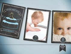 Custom Chalkboard style 12 month, first year photo banner. Boys or Girls design. Digital file or printed