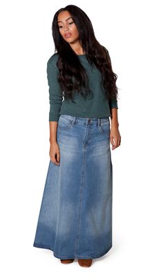 54f4229c95 Attractive  amp  modest A-Line long denim skirt from Uskees. Fashionable  medium weight