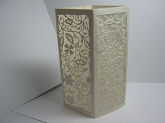 2015. This corner card Luminary is made by Sharon Frees.  The die is from Tattered Lace. The die is backed with vellum.