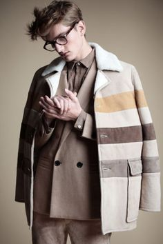 Trendy Winter Coat in earthy tones and horizontal stripes - to add dimension to a slim physique