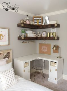 DIY your photo charms, 100% compatible with Pandora bracelets. Make your gifts special. Bedroom Ideas: DIY Cheap and Simple Floating Shelves - LOVE this idea! DIY Floating Corner Shelves - Shanty 2 Chic