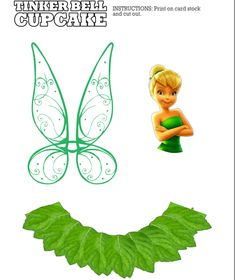 Tinker Bell free printables cupcake liners and toppers for fairy party