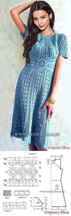 Ажурное платье / Вязание крючком / Женская одежда крючком. Схемы.