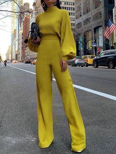 casual look Fashion Bishop Sleeve Pure Colour Half Collar Jumpsuits Trend Fashion, Look Fashion, Fashion Outfits, Womens Fashion, Office Fashion, Elegant Fashion Style, Sexy Classy Style, Fashion Styles, Fashion Fashion