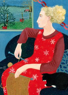 'Snowflakes' By Artists Dee Nickerson. Blank Art cards By Green Pebble. www.greenpebble.co.uk