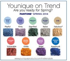 Pantone's Spring 2014 colors match perfectly with these Younique Pigments! A great way to update your spring wardrobe without spending a fortune! Try a set of 4 of these long lasting, easy to wear pigments for $35. https://www.youniqueproducts.com/MiekeNatale