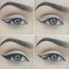 How To Do Cat Eye Makeup Perfectly? - Tutorial With Pictures, #eyemakeuptutorial...#cat #eye #eyemakeuptutorial #makeup#cat #eye #eyemakeuptutorial #eyemakeuptutorialcat #makeup #perfectly #pictures #tutorial #BeautyHacksEyelashes Formal Eye Makeup, Bright Eye Makeup, Dark Eye Makeup, Dramatic Eye Makeup, Colorful Eye Makeup, Smokey Eye Makeup, Natural Makeup, Natural Beauty, Khol Eyeliner