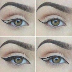 How To Do Cat Eye Makeup Perfectly? - Tutorial With Pictures, #eyemakeuptutorial...#cat #eye #eyemakeuptutorial #makeup#cat #eye #eyemakeuptutorial #eyemakeuptutorialcat #makeup #perfectly #pictures #tutorial #BeautyHacksEyelashes Formal Eye Makeup, Bright Eye Makeup, Dramatic Eye Makeup, Colorful Eye Makeup, Smokey Eye Makeup, Khol Eyeliner, Cat Eyeliner, Pencil Eyeliner, Apply Eyeliner