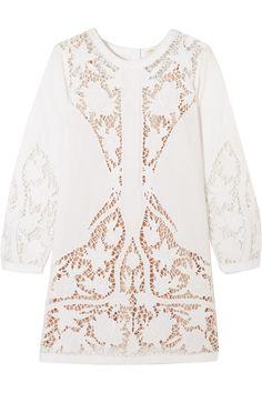Maje | Juniper guipure lace-paneled embroidered cotton-poplin mini dress | NET-A-PORTER.COM