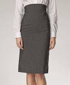 Gray High-Waist Pencil Skirt