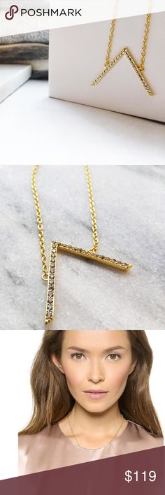 """Gold Pave Chevron Pendant Necklace Details: * 24k gold plated * White topaz stones * Lobster clasp  * 16"""" long + 2"""" extender * 1"""" pendant * NWT  10071612 Elizabeth and James Jewelry Necklaces"""