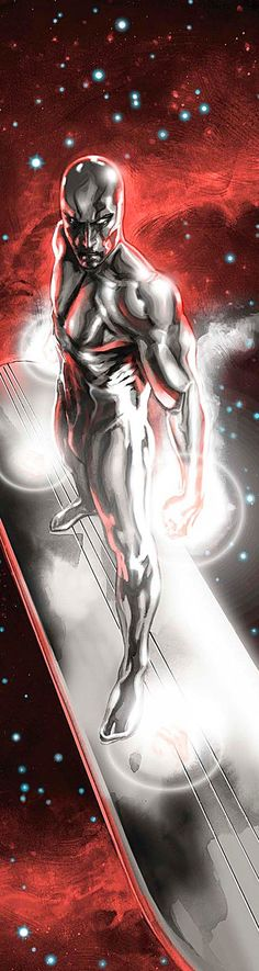 Silver Surfer (Norrin Radd) is a fictional character, a superhero in the Marvel Comic universe. Created Jack Kirby, he first appears in The Fantastic Four #48 in 1966. A young astronomer, Norrin saved his homeworld Zenn-La from Galactus by offering to serve as his herald. Imbued in return with a portion of Galactus's Power, he acquired a new body, and a surfboard-like craft. Radd then roamed the cosmos for planets for Galactus to consume. His travels eventually led him to Earth, where he met…