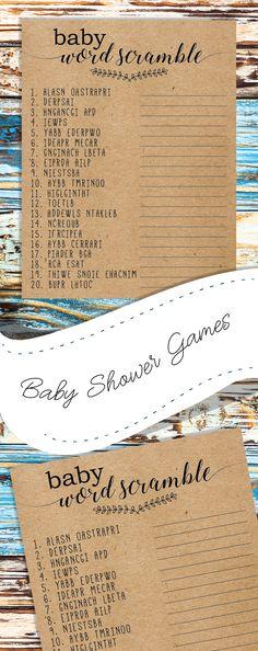 Baby word scramble. Baby shower games. kraft paper baby shower games. rustic, woodland baby shower games.