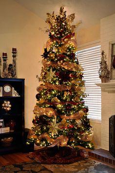 Decorated Christmas trees mesh ribbon garland | christmas tree decorating ideas with mesh ribbon