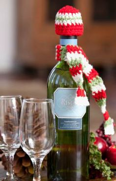 downloadable instructions for dressing up liquor bottle gifts for the holidays, I really need to learn simple crochet.