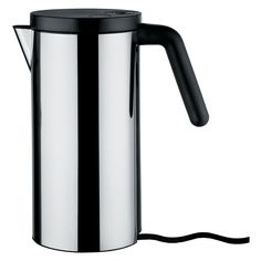 Hot it kettle by Alessi, electric kettle in stainless steel. The handle and lid on hot it kettle is in thermoplastic resin, black. please see all our other alessi kitchenware on offer. Electrical Appliances, Small Appliances, Kitchen Appliances, Kitchens, Kartell, Alessi, Brushed Stainless Steel, Living Furniture, Retro