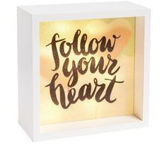 Lightboxarts Follow Your Heart Lighted Tabletop Art (34 NZD) ❤ liked on Polyvore featuring home, home decor, wall art, white, lighted home decor, lighted wall art, lit wall art, heart wall art and white home decor