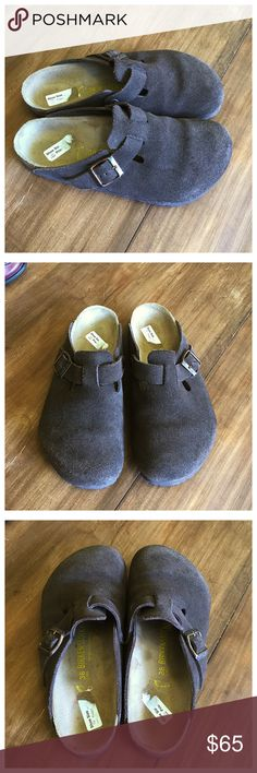 Like new Birkenstock Boston Brown Suede Clogs In great condition! Only look like they've been worn once or twice. Birkenstock Shoes Mules & Clogs