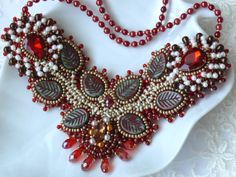 Bead embroidered red necklace ROSES embroidery seed by Maewa, €69.00