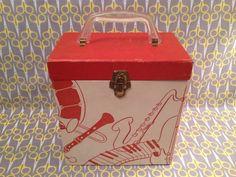 "7"" Vinyl Record storage box 45RPM case tote Red White Platter Pak 700 series stacker"