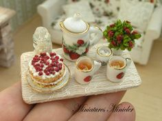 Miniature Dollhouse Afternoon Tea On The Serving Board by Minicler