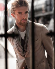 ♂ Masculine and Elegance man with scarf neutral