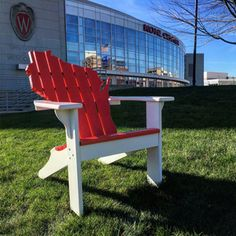 Wisconsin Badgers' colors painted Adirondack chair. On Wisconsin!