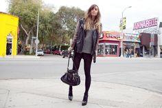 I'd like that jacket, handbag, tights, heels, etc, etc...