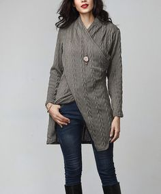 Loving this Charcoal Cable-Knit Faux Wrap Tunic on #zulily! #zulilyfinds