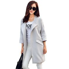 >> Click to Buy << 2017 New Fashion Women Coat New Fashion Female O-Neck Three Quarter Sleeve Women Trench Coat Spring Autumn Women Long Coat TR055 #Affiliate
