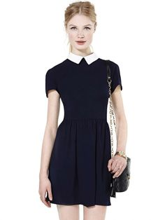 Black Contrast Lapel Pleated Dress