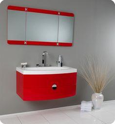 Fresca Energia Red Bathroom Vanity w/ Three Panel Folding Mirror & Faucet
