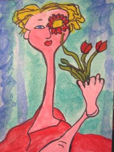 ORIGINAL ACEO NFAC SURREALISM FACE FLOWERS WHIMSY  PAINTING  OFF THE WALL ART #Surrealism