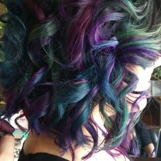 Oil slick is the rainbow hair technique brunettes can wear.