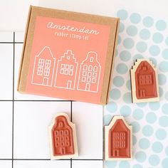 Stamp set houses dutch house stamp Amsterdam gift the Amsterdam Souvenirs, Dutch House, Non Profit, Holiday Gifts, Gift Wrapping, Stamps, Mexico, Diy, Ornaments
