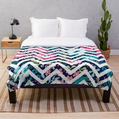 """Floral Zigzag Stripes"" Throw Blanket by MYSTIQU3 